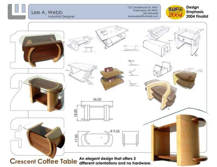 Charmant Crescent Coffee Table   Wood Furniture Design