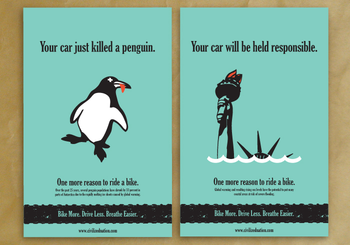 Bicycle Advocacy Posters by gary wentz at Coroflot.com