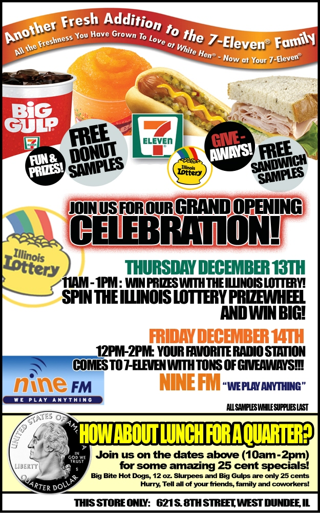 7 eleven grand opening signage flyer designs by miguel ortuno at coroflotcom for Grand opening flyer ideas