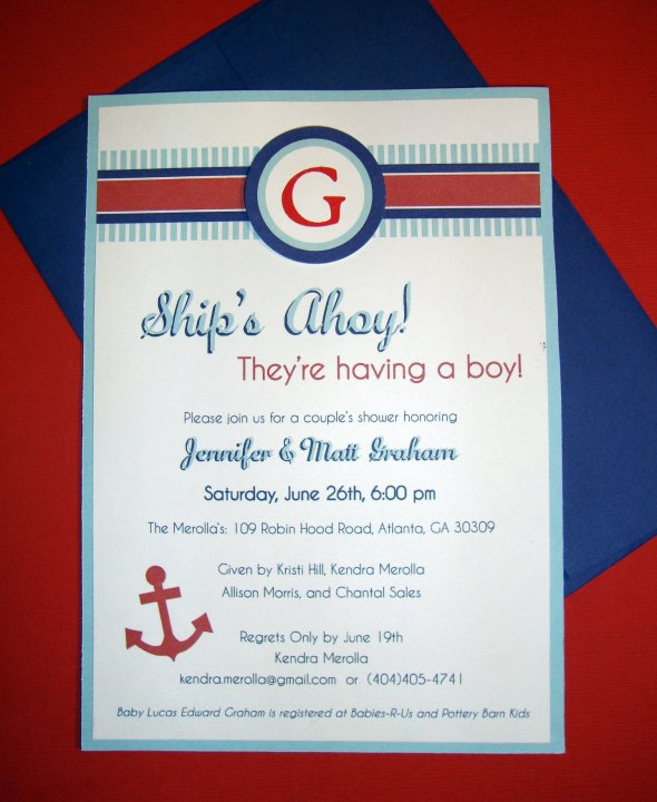 favorite nautical themed baby shower invitations