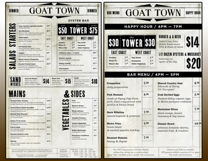 Goat town brand menu design by garrett kramer at for Table menu restaurant