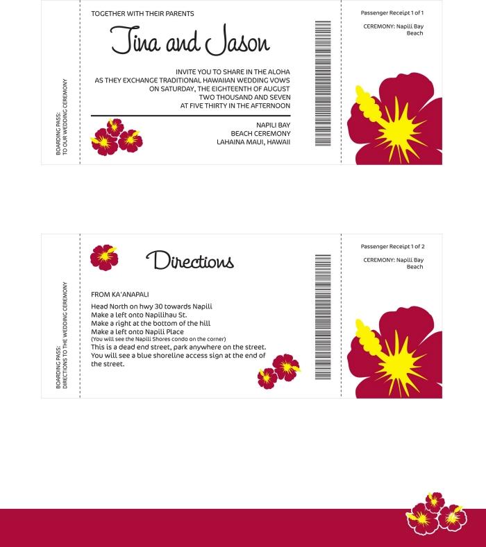 Wedding Invitation Ticket Inserts