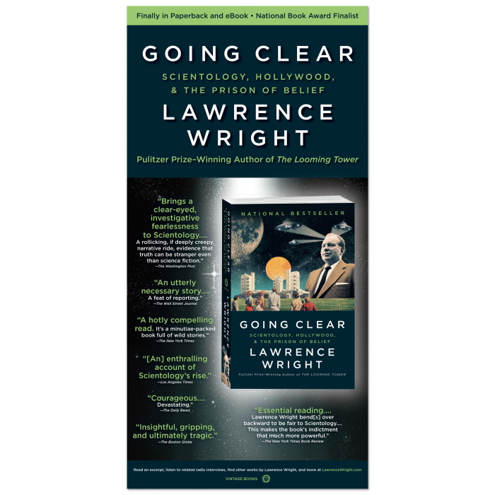 Going Clear - Full-page LA Times ad for Lawrence Wright's non-fiction book on Scientology.