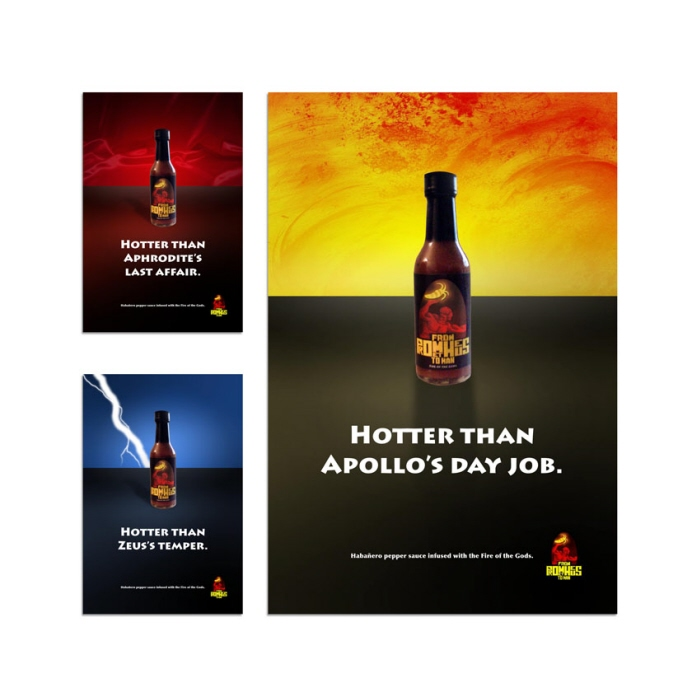 Prometheus Hot Sauce ad campaign - A series of print ads for the Habanero pepper sauce, From Prometheus to Man.
