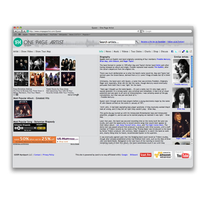 onepageartist.com - Website design for One Page Artist (onepageartist.com), a site dedicated to music.