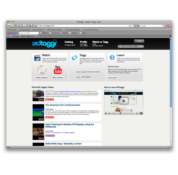 vidtaggr.com - Website design for VidTaggr (vidtaggr.com), a site that allows you to tag comments that appear as videos play.