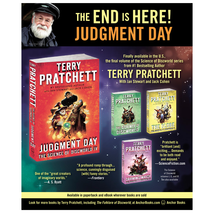 Judgment Day - Full-page Sci Fi Magazine ad for Terry Pratchett's final installment of the Science of Discworld series.
