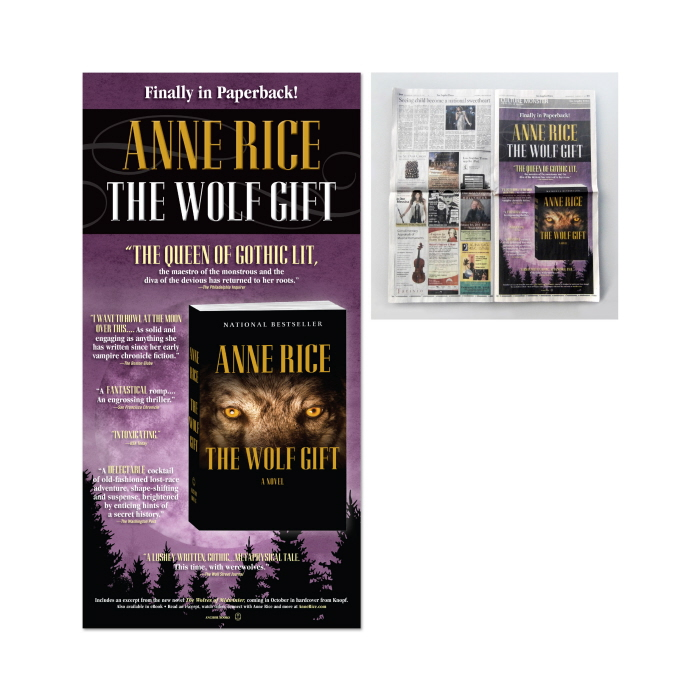 The Wolf Gift - Full-page ad in the LA Times for the Anne Rice novel.