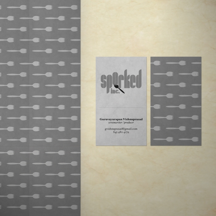 Sporked, Inc. business card - A vertically oriented two-sided business card. The back of the card can be tiled.