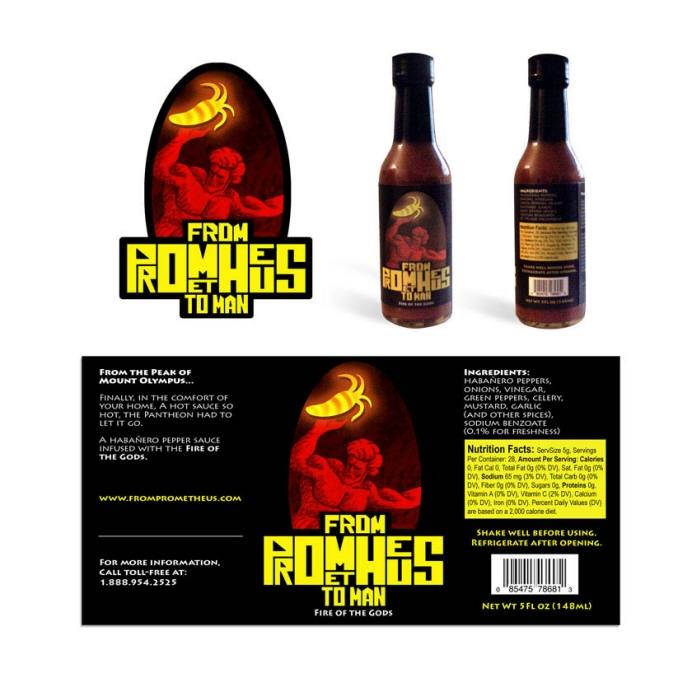 Prometheus Hot Sauce logo & packaging - From Prometheus to Man is the mythology-themed concept for a Habanero pepper sauce brand.