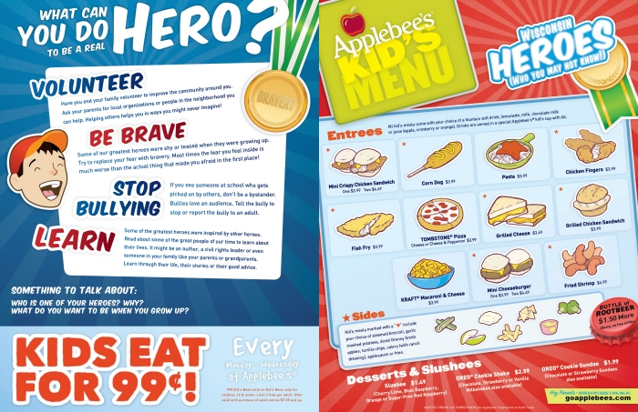 Applebee s kids menu. Applebee s restaurant designed a healthy menu for kids who are visiting the facility. Thus, parents can concentrate on engaging with their family while their kids can get a healthy meal at Applebee s. The Applebee s kids menu is quite diverse and .