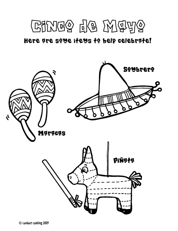 Cinco De Mayo Coloring Pages A coloring page with maracas,