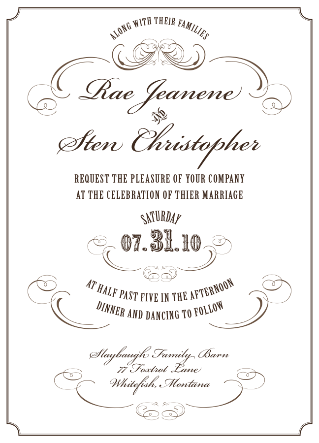 Custom Invitations Note Cards by Bonni van de Wouw at Coroflot – Formal Invitation