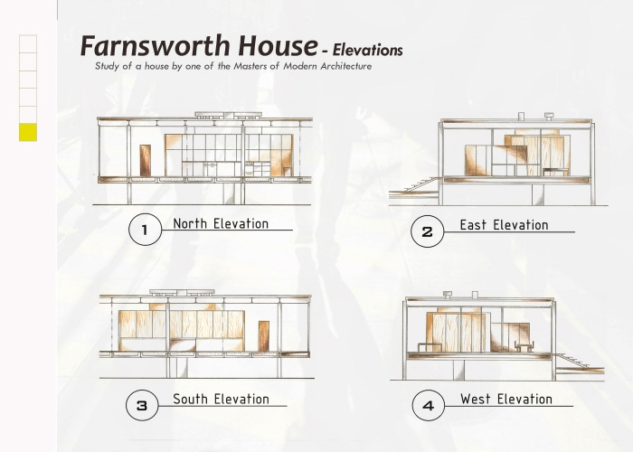 Farnsworth house plans sections and elevations for Farnsworth house floor plan