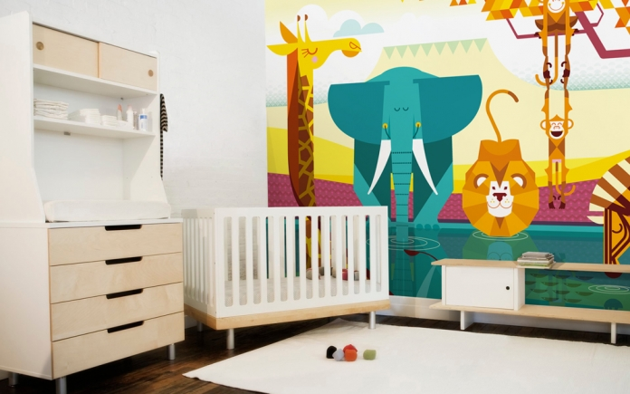 Childrens bedroom wall murals by e glue studio at - Chambre bebe peinture murale ...