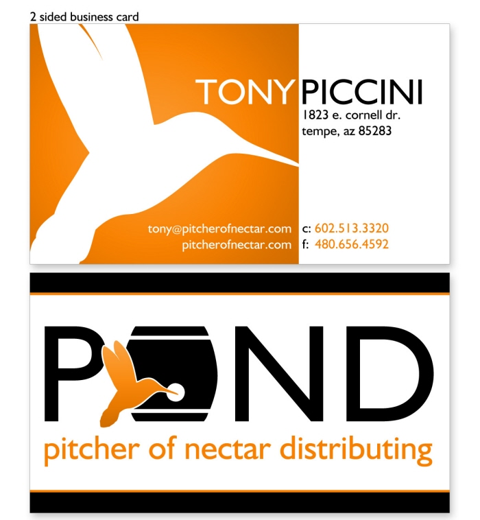 Branding logos business cards by rhonda aburomi at coroflot business card for pitcher of nectar distributing logo branding and business card for pitcher of nectar distributing pond a craft beer and liquor colourmoves