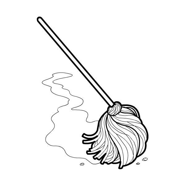 free coloring pages of mop and bucket
