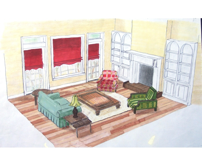 Sketches and renderings by natasha morozov at for Living room 2 point perspective
