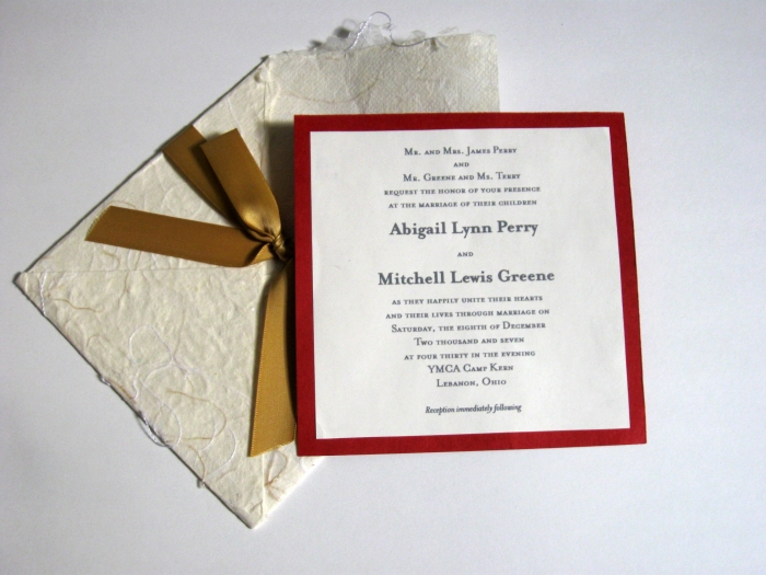 Handmade Wedding Invitations Sample One
