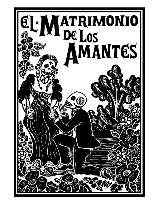 Wedding Invitation Art Design Front Cover The Ceremony Was Held On Dio De Los Muertos Day Of Dead Scratchboard India Ink