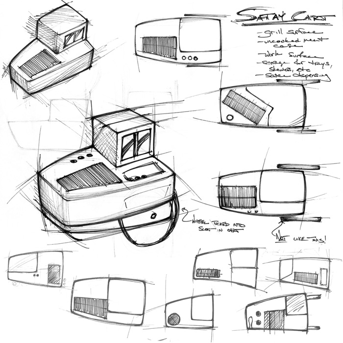 Satay Cart Sketches   While Not An Integral Part Of The Project, It Helped  To Make A Few Pages Of Cart Sketches To Help Realize The Projectu0027s Context.