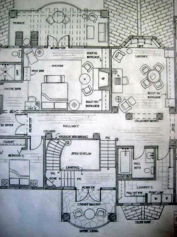 Upper level floor plan spanish colonial residence by greta for Spanish colonial floor plans