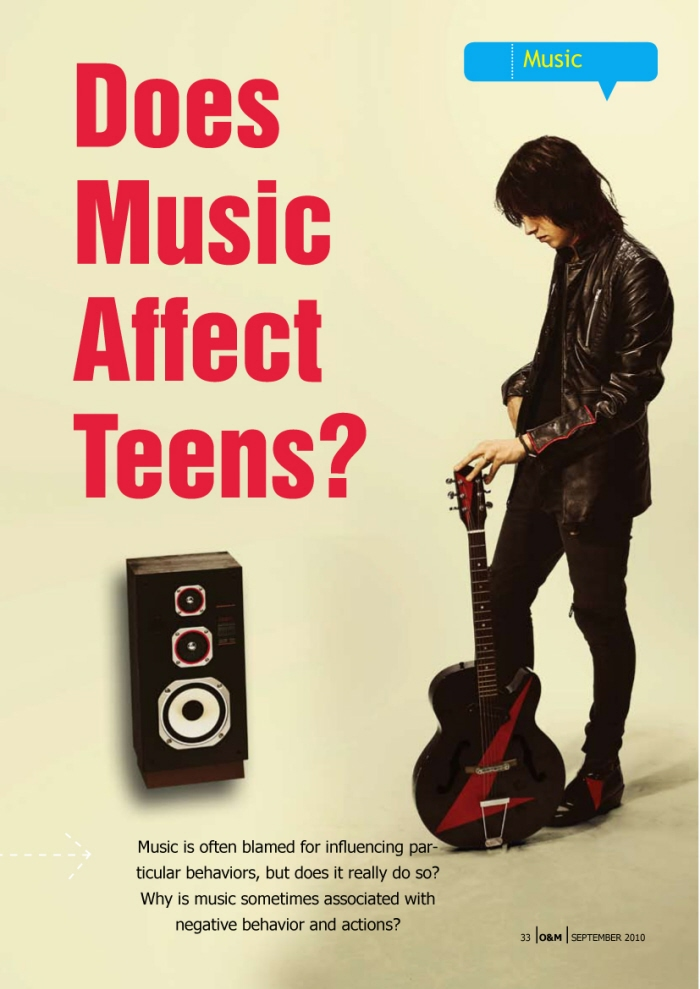 "the soothing effect of music on teenagers Teenagers enjoy music, and kids between 8 and 18 cite listening to music as their second choice among media activities, states the kaiser family foundation's ""generation m2 media in the lives of 8- to 18-year-olds"" with some music genres involving questionable lyrics and messages, as well as music videos showing graphic content, music might have a negative influence of kids and teenagers."