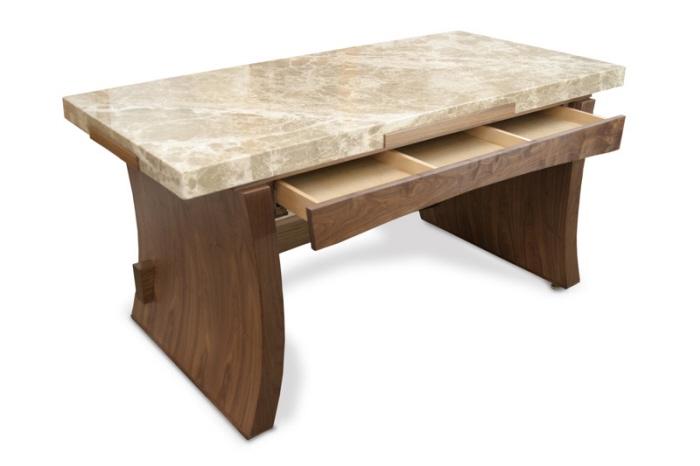 Marble Top Desk Italian American Black Walnut Veneer And Lumber