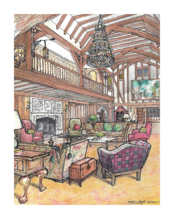 Designer Barbara Ostrom Associates. The Great Hall.Mansion in May 2012,  Morristown, NJ - I did architectiral Illustration atThe Great Hall is the  largest, ...