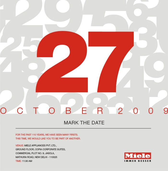 Miele launch in india by yamini chandra at coroflot morning emailer invites emailer invites to the morning launch event at the miele experience center at jasola new delhi high end domestic appliances stopboris Choice Image
