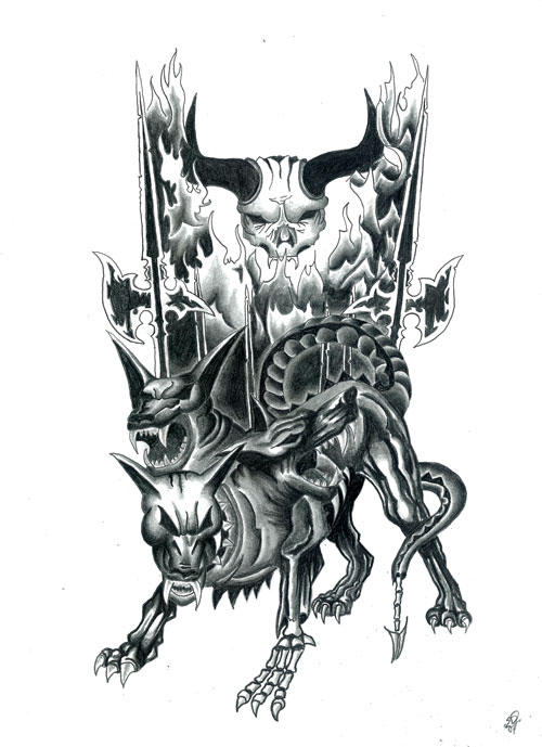 pin cerberus an entry for a tattoo contest that failed share be the first on pinterest. Black Bedroom Furniture Sets. Home Design Ideas