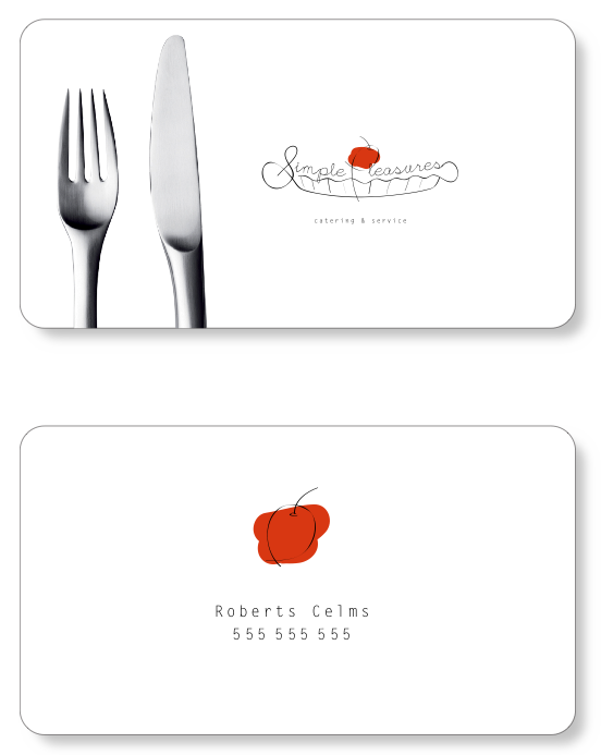 Rejected simple pleasures by janis freimanis at coroflot basic identity for a catering company business card reheart Image collections