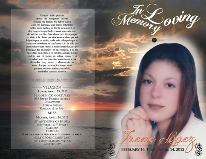Memorial Pamphlet by Elizabeth Lopez at Coroflot.com