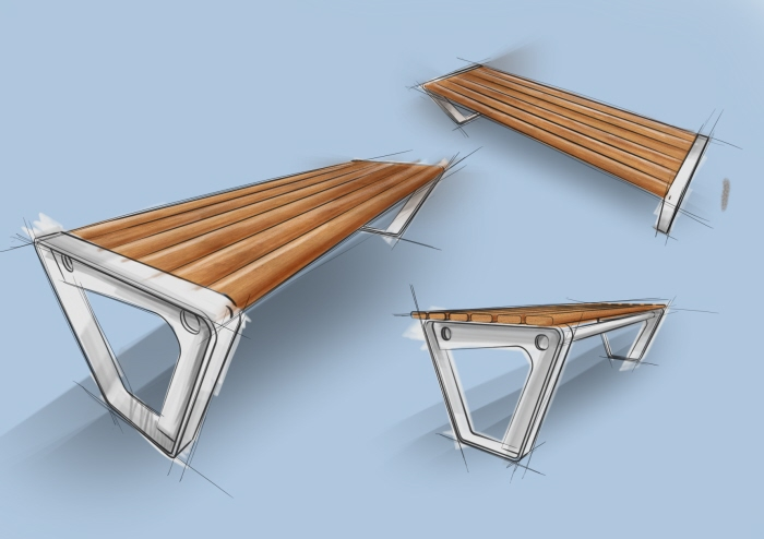Urban furniture quick sketching by Pablo Mesia Blanco at Coroflot com