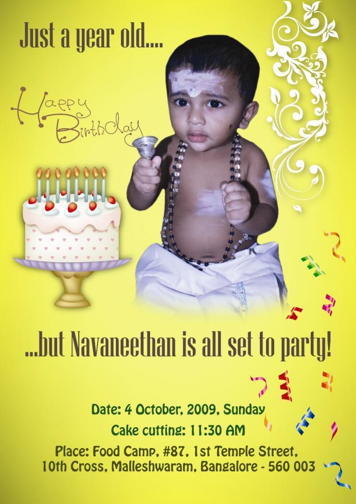 Invitation by Bhanu Shankar at Coroflot – My First Birthday Invitation