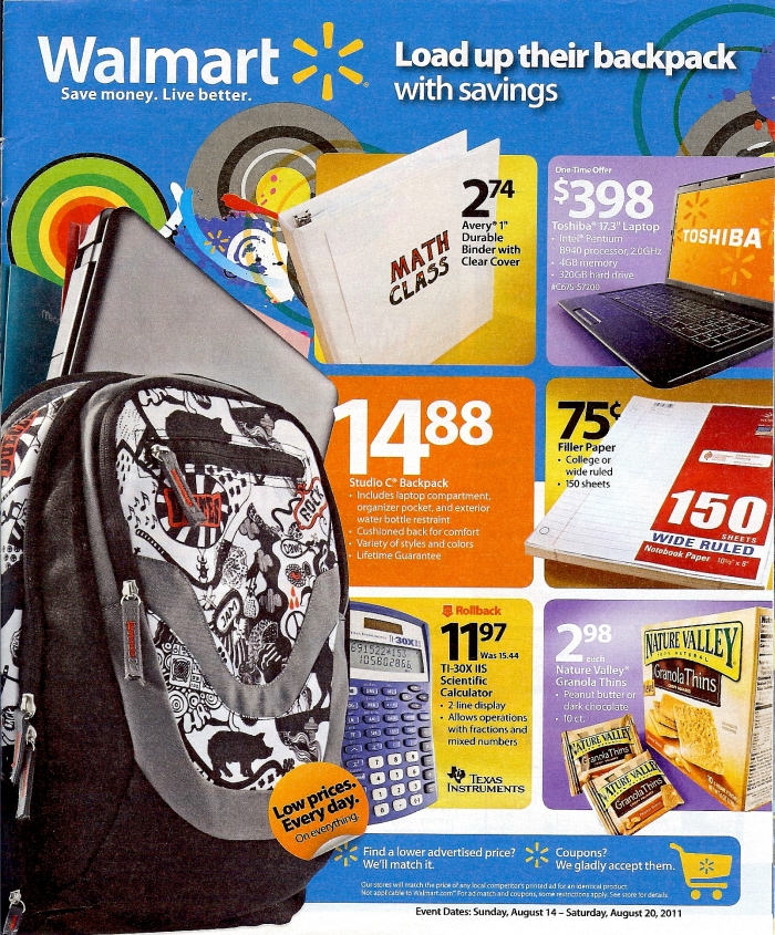 Walmart Back to School Backpack