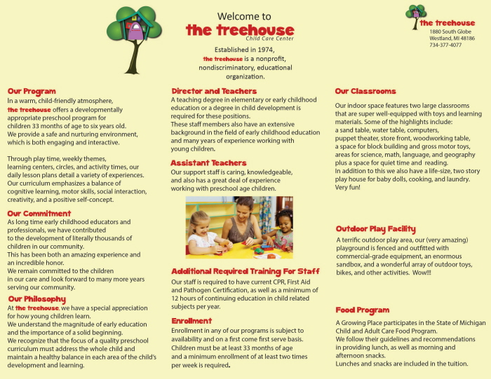 Mock Daycare Brochure by Kim Miller at Coroflot.com
