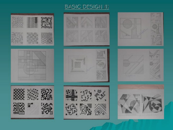 Basic Design I - Basic Design Elements & Principles applied in projects  depicting: points, lines & grids
