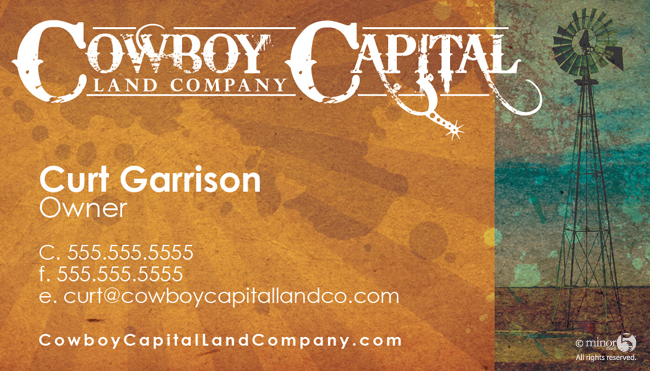 Cowboy capital land company business card part of a brand identity i conceptualized and created for cowboy capital land company