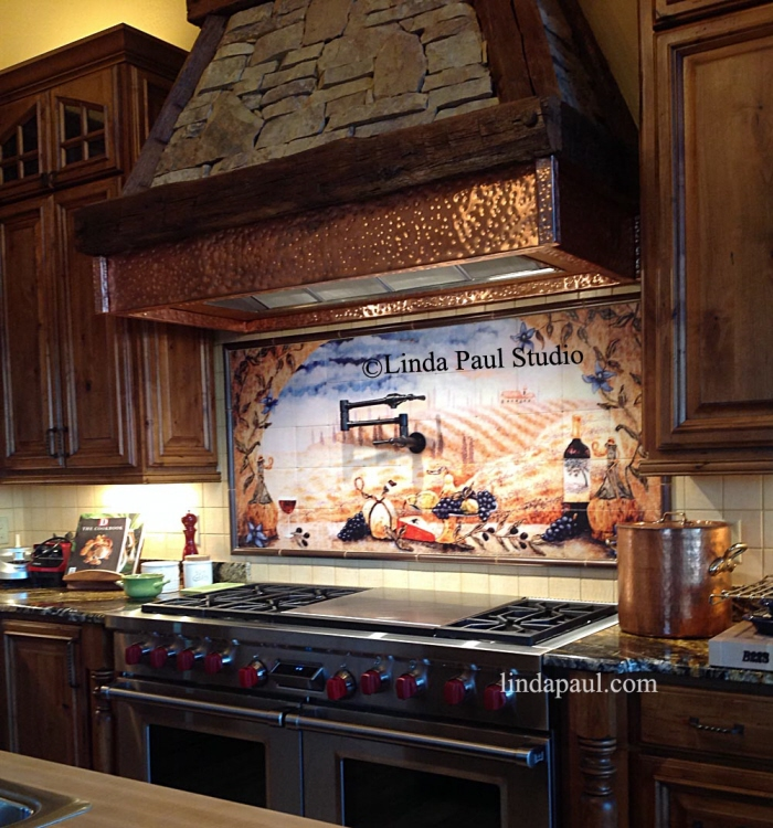 Kitchen backsplash tile murals by linda paul studio by for Backsplash tile mural