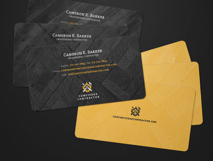 Concierge contractor business collateral and promotional print by business cards concierge contractor is a construction company activating in the austin texas metropolitan and suburban areas the prints use a gold and reheart Image collections