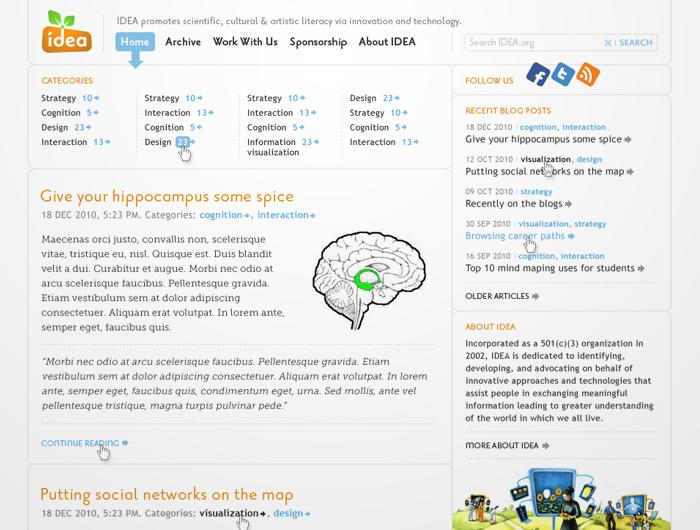 IDEA Web Site Redesign & Blog Design by Ovidiu Ancuta at Coroflot.com