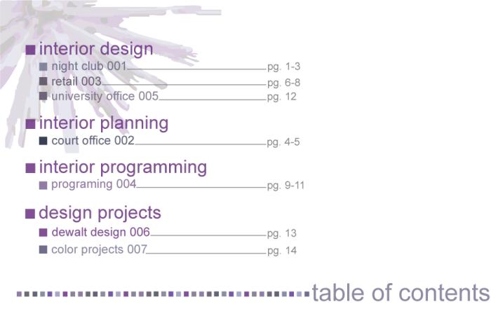Interior design portfolio by lauren scassellati at for Table of contents design