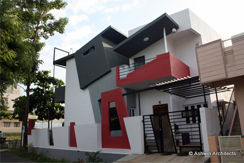 Modern duplex house design in bangalore india by ashwin for Architecture design small house india