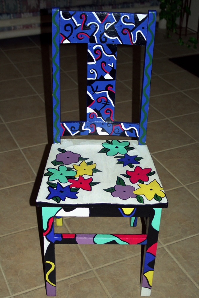 Personal artwork painted chairs by carrie butler at for What kind of paint to use on wood furniture