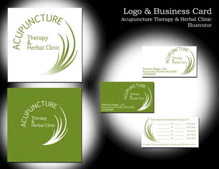 Logo corporate id by anne m floreau at coroflotcom for Acupuncture business cards