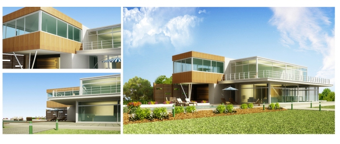 Wood And Glass Elevation : Exterior d visualization elevation renders by