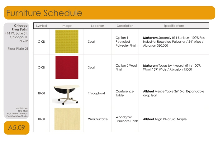 Hok collaborative senior project by yadi nunez at for Furniture schedule interior design