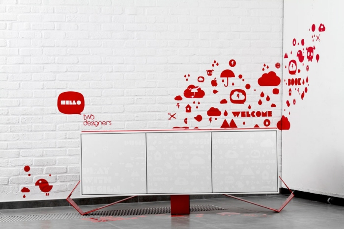 Play With Design   A Buffet That Strives For Lightness And Levitates,  Placed On A Three Footed Structure. Its Doors, Screen Printed , Tells The  Story Of ...