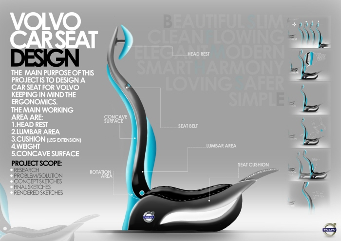 volvo car seat design by fowad iqbal at. Black Bedroom Furniture Sets. Home Design Ideas